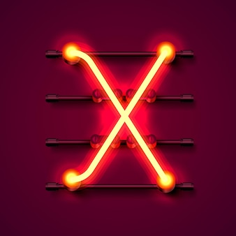 Neonowa czcionka litera x, szyld projektu artystycznego. ilustracja wektorowa
