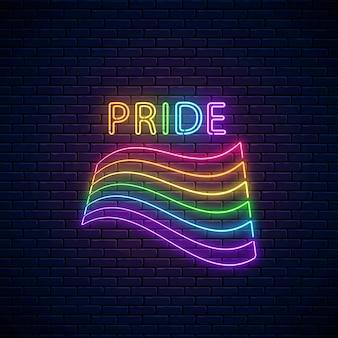Neonowa flaga lgbt z tekstem dumy.