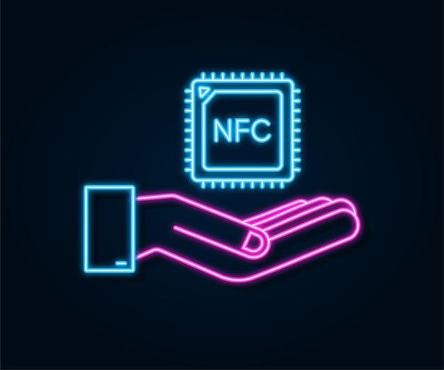 Neonowa ikona procesora nfc z rąk. układ nfc. komunikacja bliskiego zasięgu. czas ilustracja wektorowa.