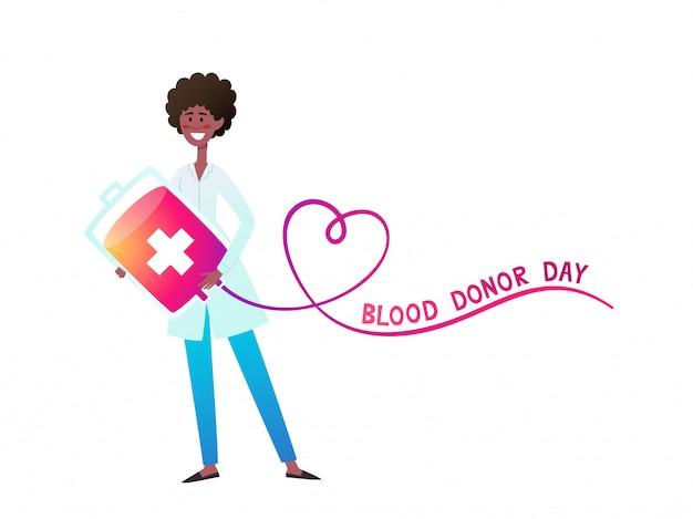 Neonowa ilustracja afrykańska pielęgniarka trzyma worek krwi