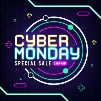 Neonowa ilustracja cyber poniedziałek
