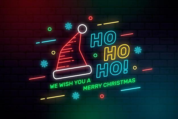 Neonowa ilustracja kapelusz santa