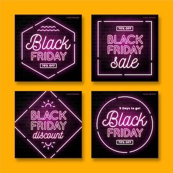Neonowa kolekcja postów na instagramie w czarny piątek