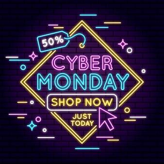 Neonowa koncepcja cyber poniedziałek