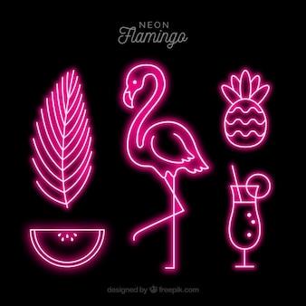 Neonowa lampa w kształcie flaminga