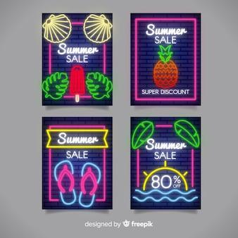Neonowa lato sprzedaży sztandaru paczka