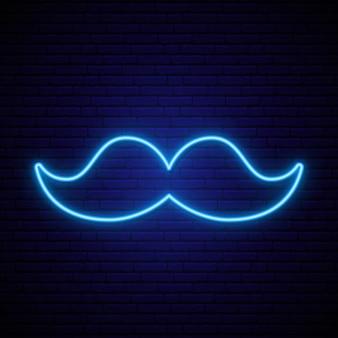 Neonowa niebieska ikona wąsów na ciemnym murem