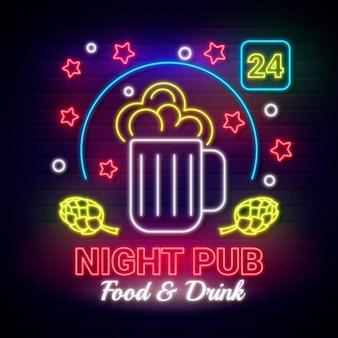 Neonowa noc pub znak