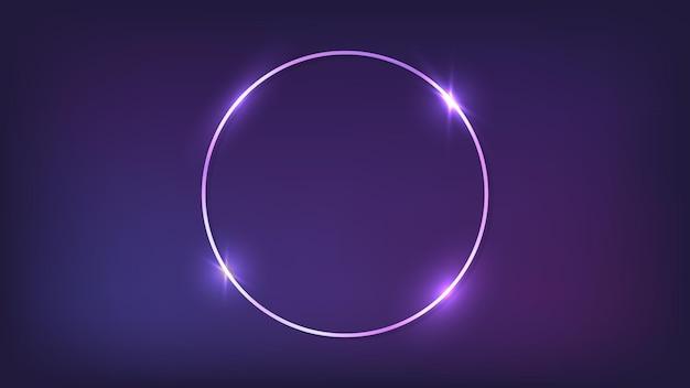 Neonowa okrągła ramka z błyszczącymi efektami na ciemnym tle. puste świecące tło techno. ilustracja wektorowa.