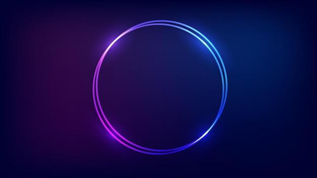 Neonowa podwójna okrągła ramka z błyszczącymi efektami na ciemnym tle. puste świecące tło techno. ilustracja wektorowa.