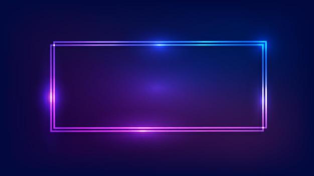 Neonowa podwójna prostokątna ramka z błyszczącymi efektami na ciemnym tle. puste świecące tło techno. ilustracja wektorowa.