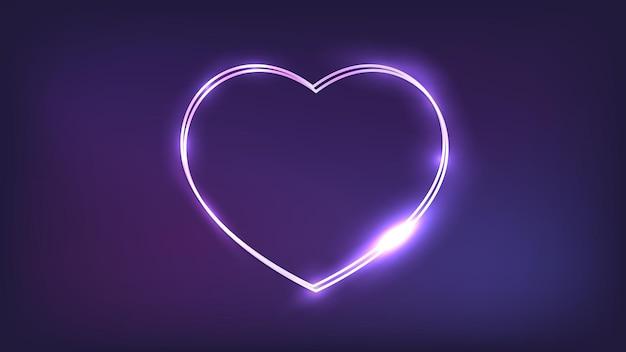 Neonowa podwójna ramka w formie serca z błyszczącymi efektami na ciemnym tle. puste świecące tło techno. ilustracja wektorowa.