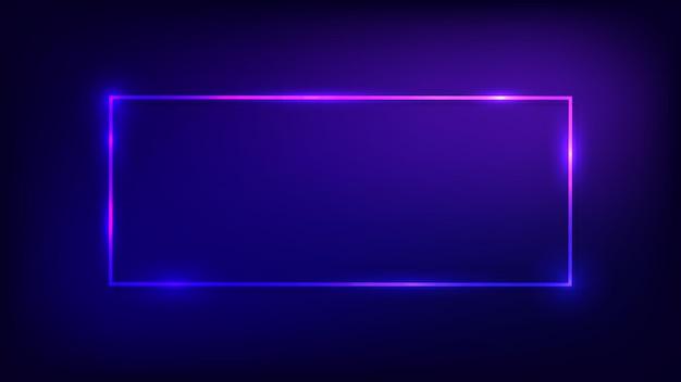 Neonowa prostokątna ramka z błyszczącymi efektami na ciemnym tle. puste świecące tło techno. ilustracja wektorowa.