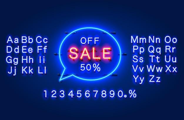 Neonowa ramka czatu 50 z banerem tekstowym