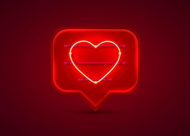 Neonowa ramka na czat w kształcie serca. element projektu szablonu. ilustracja wektorowa