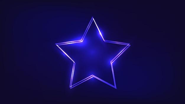 Neonowa ramka podwójna gwiazda z błyszczącymi efektami na ciemnym tle. puste świecące tło techno. ilustracja wektorowa.