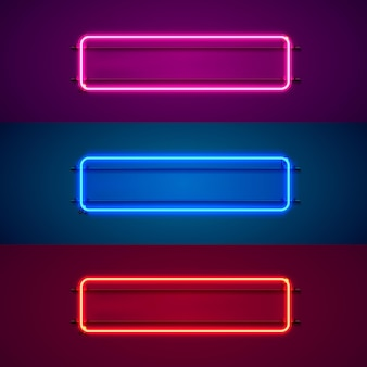 Neonowa ramka w kształcie kwadratu. ustaw kolor. element projektu szablonu. ilustracja wektorowa
