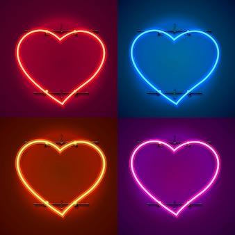 Neonowa ramka w kształcie serca. ustaw kolor. element projektu szablonu. ilustracja wektorowa