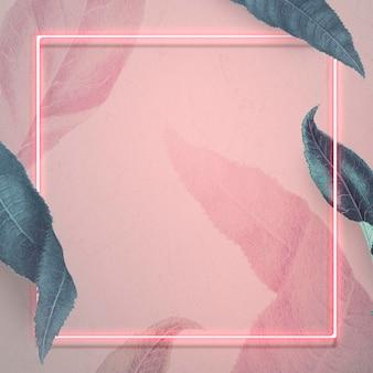 Neonowa ramka z liśćmi brzoskwini