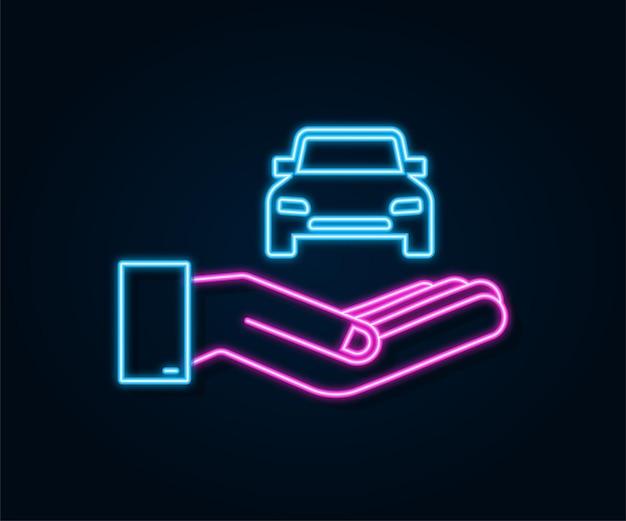 Neonowa ręka trzymająca samochód, świetny design do dowolnych celów. ilustracja kreskówka wektor.