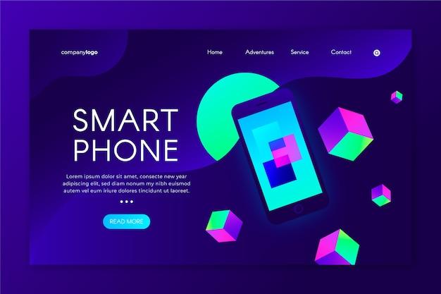 Neonowa strona docelowa z szablonem smartfona