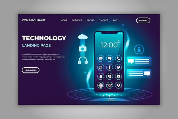 Neonowa strona docelowa ze smartfonem