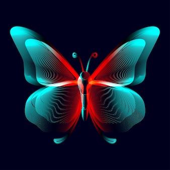 Neonowa sylwetka motyla w stylu sztuki linii. ilustracja wektorowa 3d świecącego papillonu konturowego widoku z góry na białym tle na ciemnym tle