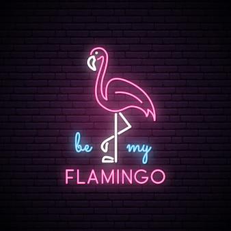 Neonowa sylwetka różowego flamingo.