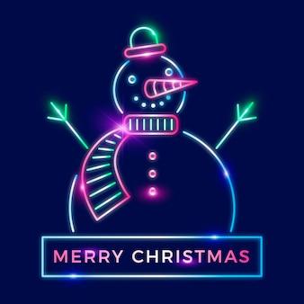 Neonowa wesołych świąt bożego narodzenia ilustracja bałwana