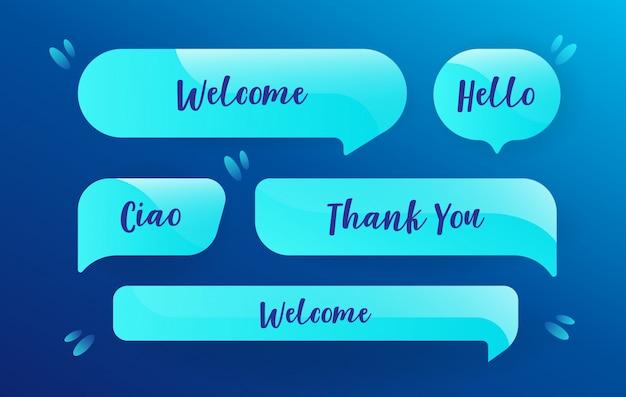 Neonowe bąbelki mowy w niebieskim deseniu z wiadomościami