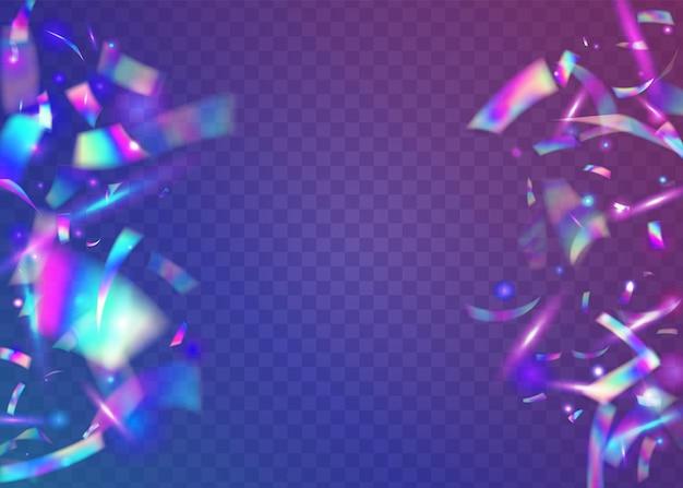 Neonowe błyszczy. fioletowy brokat party. karnawałowy blichtr. surrealistyczna folia. sztuka glamour. rozbłysk retro. spadające tekstury. laserowe kolorowe tło. niebieskie neonowe błyski