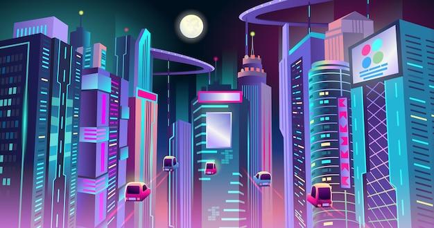Neonowe cyberpunkowe miasto przyszłości z ruchem latających samochodów w nocy. ilustracja wektorowa.