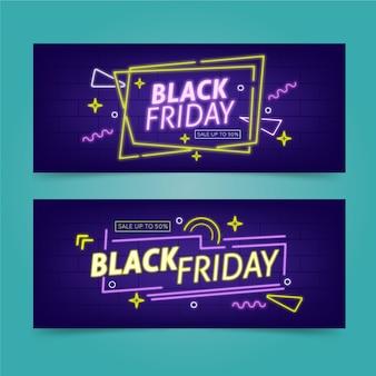 Neonowe czarne banery piątek