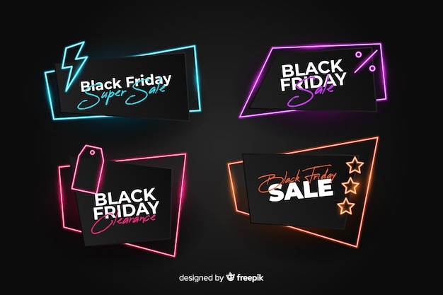 Neonowe czarne piątek banery