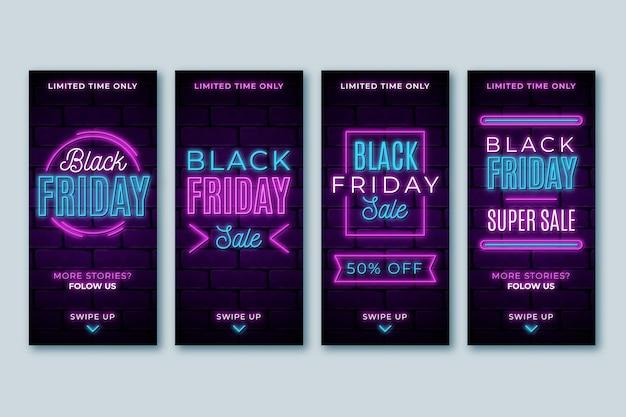 Neonowe czarne piątkowe historie na instagramie