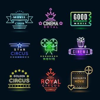 Neonowe emblematy cyrkowe i kinowe lub filmowe. pokaz kina, kino świecące na billboardzie, film kinowy banner, ilustracja godło rozrywki cyrkowej