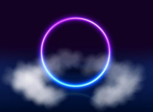 Neonowe fioletowe i niebieskie tło koło