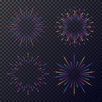 Neonowe gwiazdy ustawione na białym tle na przezroczystym tle