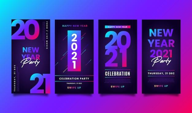 Neonowe historie na instagramie z nowym rokiem 2021