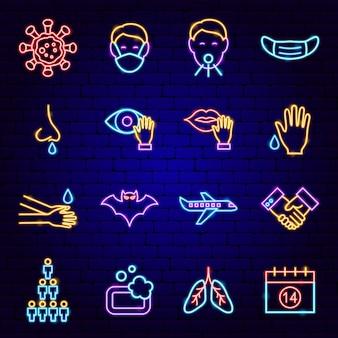 Neonowe ikony zapobiegania koronawirusowi. ilustracja wektorowa promocji medycznej.