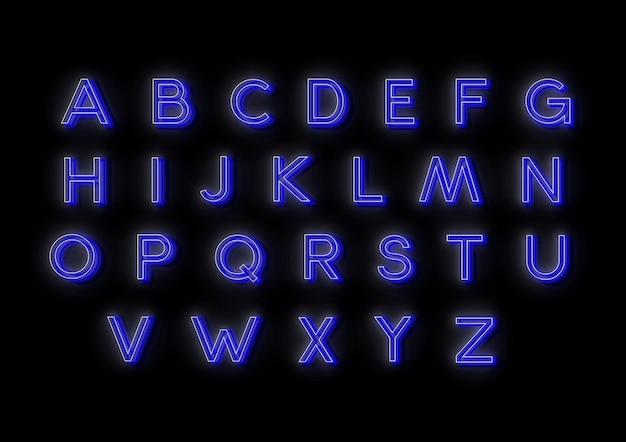 Neonowe ilustracje wektorowe alfabetu do projektowania