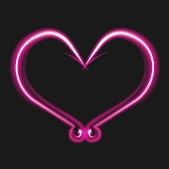 Neonowe jasne różowe serce na czarnym tle. haczyki w kształcie serca. miłość do wędkowania. świecące elektryczne walentynki znak. ilustracja wektorowa.