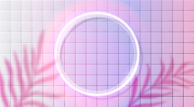 Neonowe koło ramki świecące obramowanie na różowej ceramicznej ścianie niewyraźne liście cień futurystyczne tło