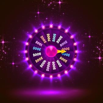 Neonowe kolorowe koło fortuny. fioletowe tło. ilustracja wektorowa