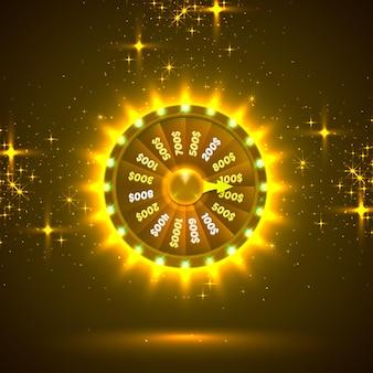 Neonowe kolorowe koło fortuny. złote tło. ilustracja wektorowa