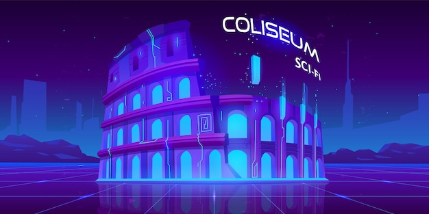 Neonowe koloseum na świecącym tle science fiction retro