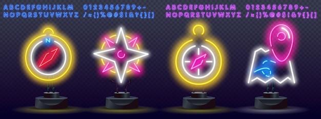 Neonowe kompasy i oznaczenia miejsc na mapach drogowych.