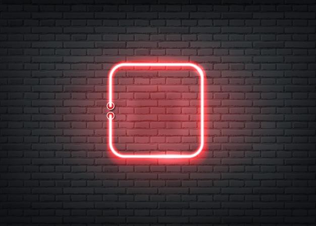 Neonowe kwadratowe oznakowanie ceglanego muru w tle retro oznakowanie dla paska nocnego klubu w kasynie