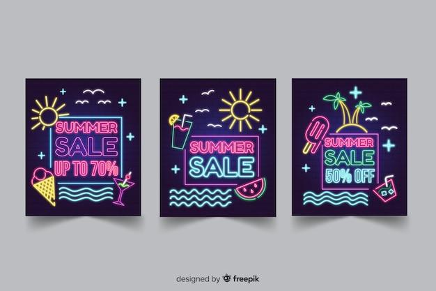 Neonowe lato banery sprzedaży