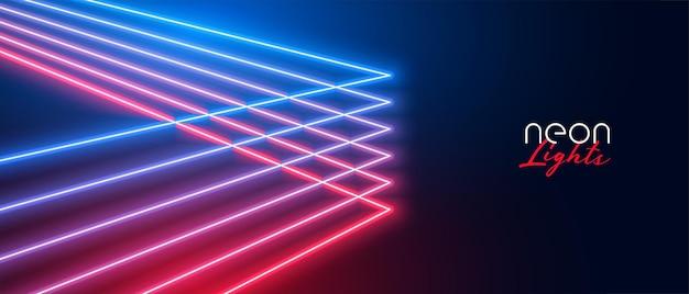 Neonowe linie projekt banera z efektem świetlnym